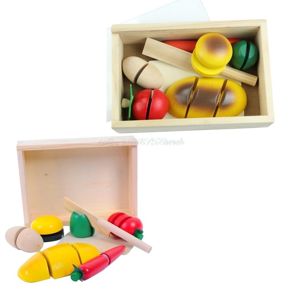 New Wooden Fruit Vegetable Food Kids Role Play Children Kitchen ...
