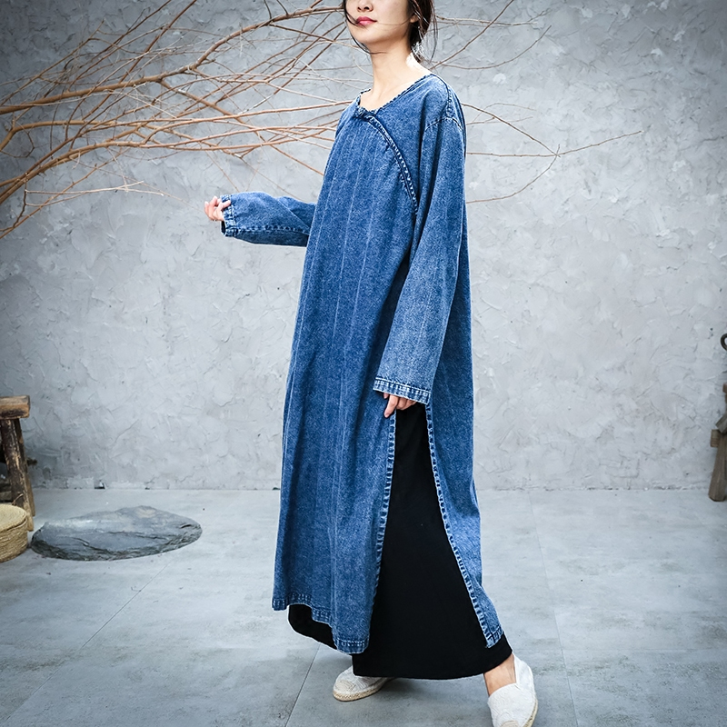 Free Shipping 2019 New Fashion Loose Straight Denim Dresses Women Long mid-calf Plus Size S-XL One-piece Chinese Style Dresses