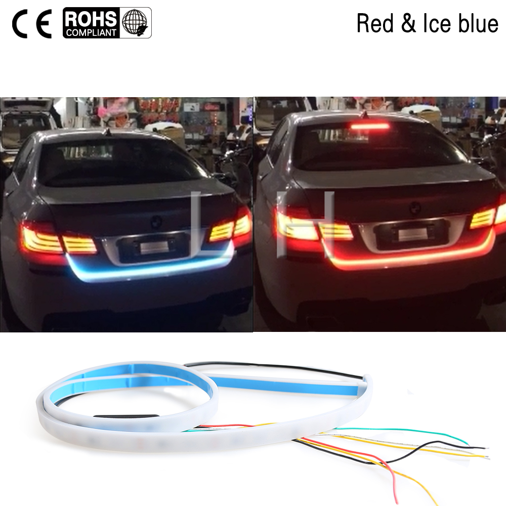 120 cm Hayon lumière bande Rouge et Bleu tronc lumière bande kitTail led moving flash avertissement de voiture led flexible lampe