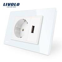 Livolo مأخذ اثنين قانغ الاتحاد و مأخذ usb ، الأبيض الكريستال والزجاج لوحة ، ac 110 ~ 250 فولت 16a جدار السلطة المقبس ، VL-C9C1EU1U-11