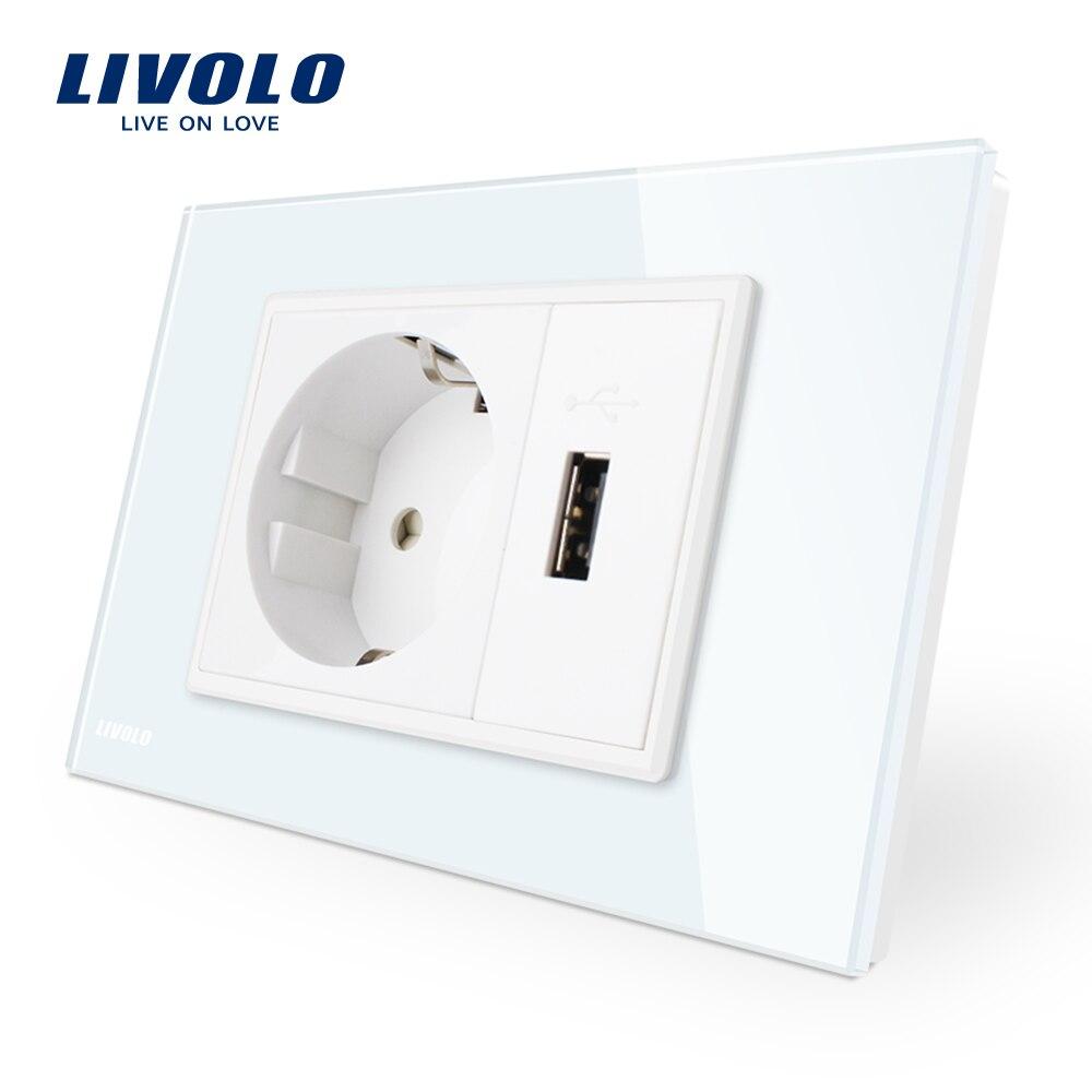 Livolo Two Gang EU Socket & USB socket , White Crystal Glass Panel, AC 110~250V 16A Wall Power Socket, VL-C9C1EU1U-11