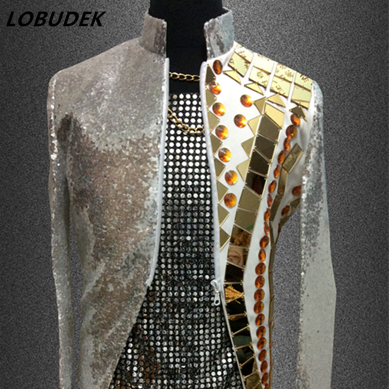 Gold Mirror Outfit Men Blazer Jacket Outwear Male Clothes