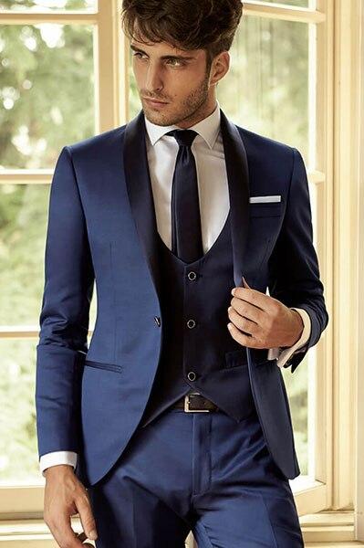 Latest Coat Pant Designs Navy Blue Men Suit Slim Fit 3 Piece Groom Shawl Lapel Tuxedo Custom Suits Party Blazer Terno Masculino