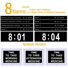 8″ Digital Alarm Clock Extra Large Non-Abbreviated Day Clock Date Time Display Table Clocks for Seniors Memory Loss People