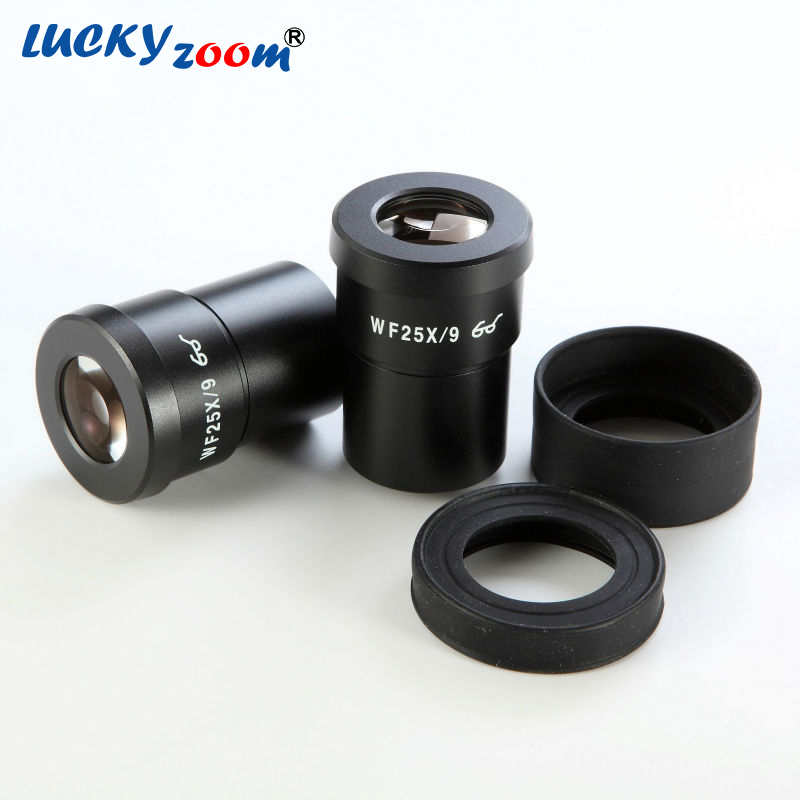 1 Pair of Luckyzoom Brand Extreme Widefield 25X Eyepieces (30mm) WF25X/9MM High Quality Microscope Accessories stereo microscope brand new wf20x widefield stereo