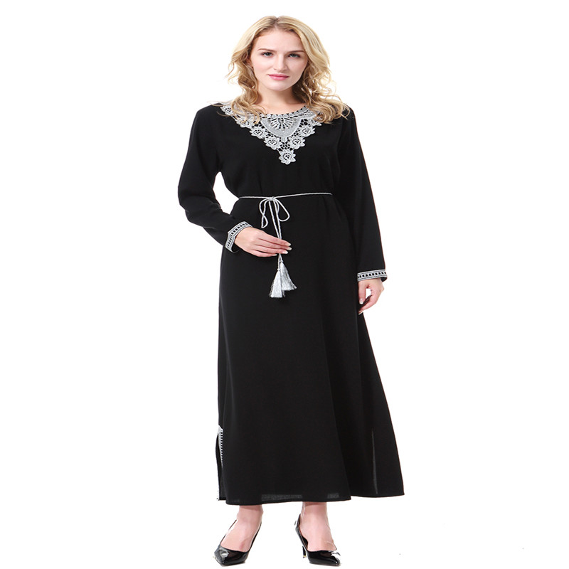 Fashion Abaya Kaftan Lady Islamic Muslim Vintage Arab Robe Cocktail Maxi Dress