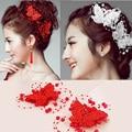 Mulheres Jóias Cabelo Acessórios Do Casamento Nupcial Da Dama de Honra Vermelho Branco Cristal Borboleta Pérola Hairwear Cabelo Pin Clipe Tiara HP034