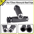 """Motorcycle 1""""25mm Black Aluminum CNC Deep Cut Handle Bar Hand Grips With Logo For Harley Sportster Touring Dyna Softail Custom"""