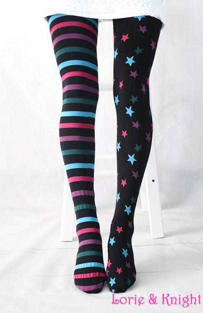 Stars & Striped Patterned Velvet Tights