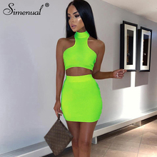 Simenual Sexy Neon Color Two Piece Outfits Fashion Sleeveless Tank Top And Skirt Set Women Summer 2019 Basic Solid Bodycon Sets