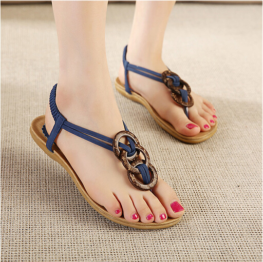 Women Flat Sandals - Fashion Peep-Toe Summer Sandals - Ankle Wrap Shoes Flip Flops