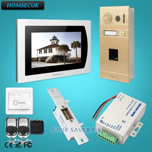 HOMSECUR 7 Wired Video Door Phone Intercom System+Voice Message+Touch Screen Monitor for House/Flat