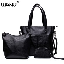 WANU 2019 leather women's casual totes sheepskin shoulder bags big black female crossbody bag in bag as gift for mother wife(China)