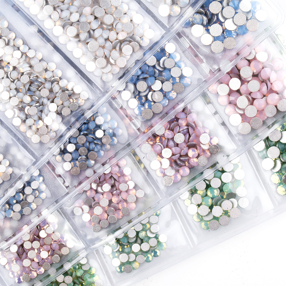 Nail rhinestones White Opal Color Decoration Multi-size mix Green Blue Pink Opal stones for nails Rhinestones for nail design mix crystals of opal rhinestones for nail rhinestones on nails opal glass gems 3d nail art strass ongle decoration mjz1027
