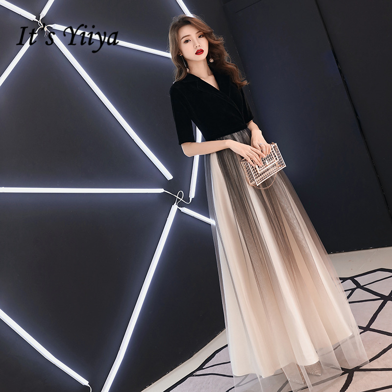 It's YiiYa Evening Dress Gradient Color Lace Illusion Wedding Formal Dresses V-neck Floor Length A-line Zipper  Party Gowns E343