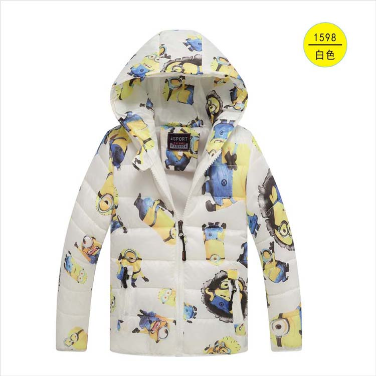 Mother & Kids Minion Jacket Kids Down Jacket For Boy Baby Clothes Winter Down Coat Warm Baby Snowsuit Children Girl Hooded Black Blue Yellow