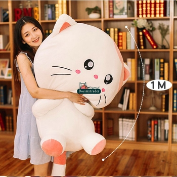 Dorimytrader 100cm Large Pop Lovely Cartoon Cat Plush Toy 39inches Stuffed Anime Cats Doll Animal Pillow Baby Gift DY61609