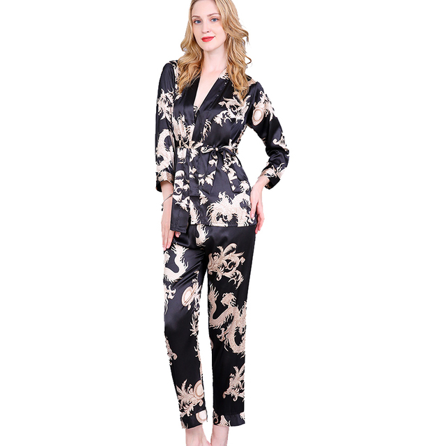 cd89550ef5 Black Women 3PCS Nightgown Long Sleeve Rayon Sexy Pajamas Set Chinese  Vintage Dragon Nightie Robe Shirt Pant Pyjamas