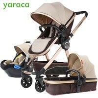 Роскошная детская коляска 3 в 1 с Автокресло Высокая Пейзаж коляска для новорожденных путешествия системы коляска тележка ходьба каретки