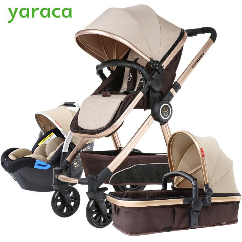 Carrinho de Bebê De luxo 3 em 1 Com Alta Paisagem Carrinho De Bebê Do Assento de Carro Para Recém-nascidos Carrinho de Sistema de Viagem Carrinho de Bebê Pé transporte