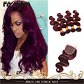 Brazilian Hair Weave 4 Bundles 7A Burgundy Body Wave 99J Brazilian Virgin Hair Red Wine Human Hair Extensions With 4x4 Closure