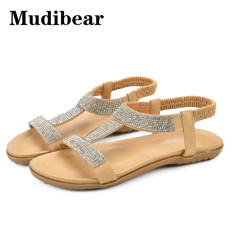 Mudibear Summer Women Bling Shoes Woman Big Size 36-42 Ankle Wrap Flat Sandals zapatos mujer sandalias Gladiator Sandals Women sandals women genuine leather lace up ankle wrap 2017 summer shoes woman gladiator sandal flat wedding shoes sandalias mujer