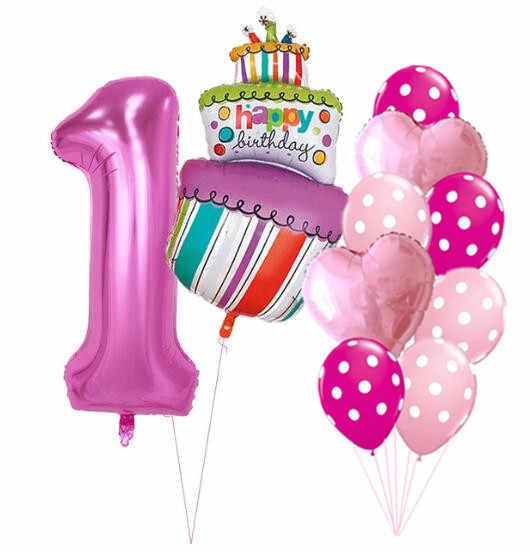 Pleasant 40Inch Pink Blue Number 1 2 3 4 5 Years Old Birthday Cake Balloons Funny Birthday Cards Online Benoljebrpdamsfinfo
