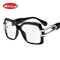 Winla Square Glasses Frame Ladies Luxury Diamond Decoration Eyeglass Classic Women Optical Metal Frame Plain Eyeglasses