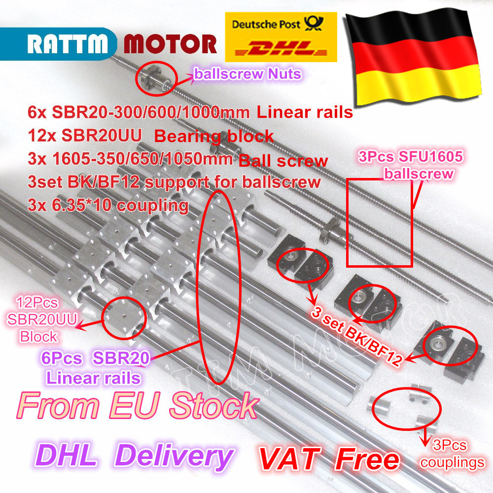 L'UE livraison TVA 3 vis à billes SFU1605-350/650/1050 + 3BK/BF12 + 3 ensembles SBR20 Linéaire Guide rails + 3 coupleurs pour CNC Router Milling Machine