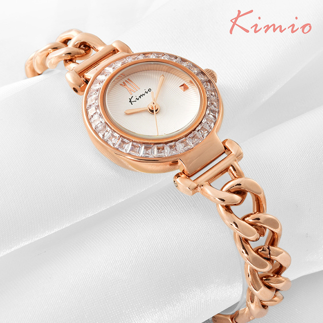 KIMIO Exquisite Zircon Small Dial Hand Chain Bracelet Watch Strap Rose Gold Quar