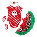 Christmas Party Girl Children Party Clothes Sets Short Sleeve Santa Claus Romper + Stripe Tutu Dress + Shoes + Headband Kids Set