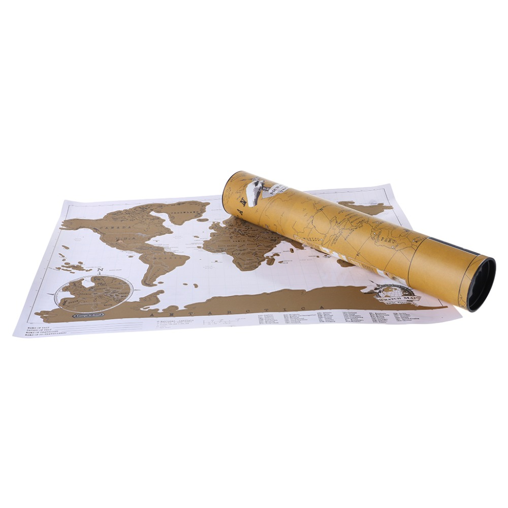 Deluxe Personalized Scratch Off Journal World Map And Travel Atlas Poster 2