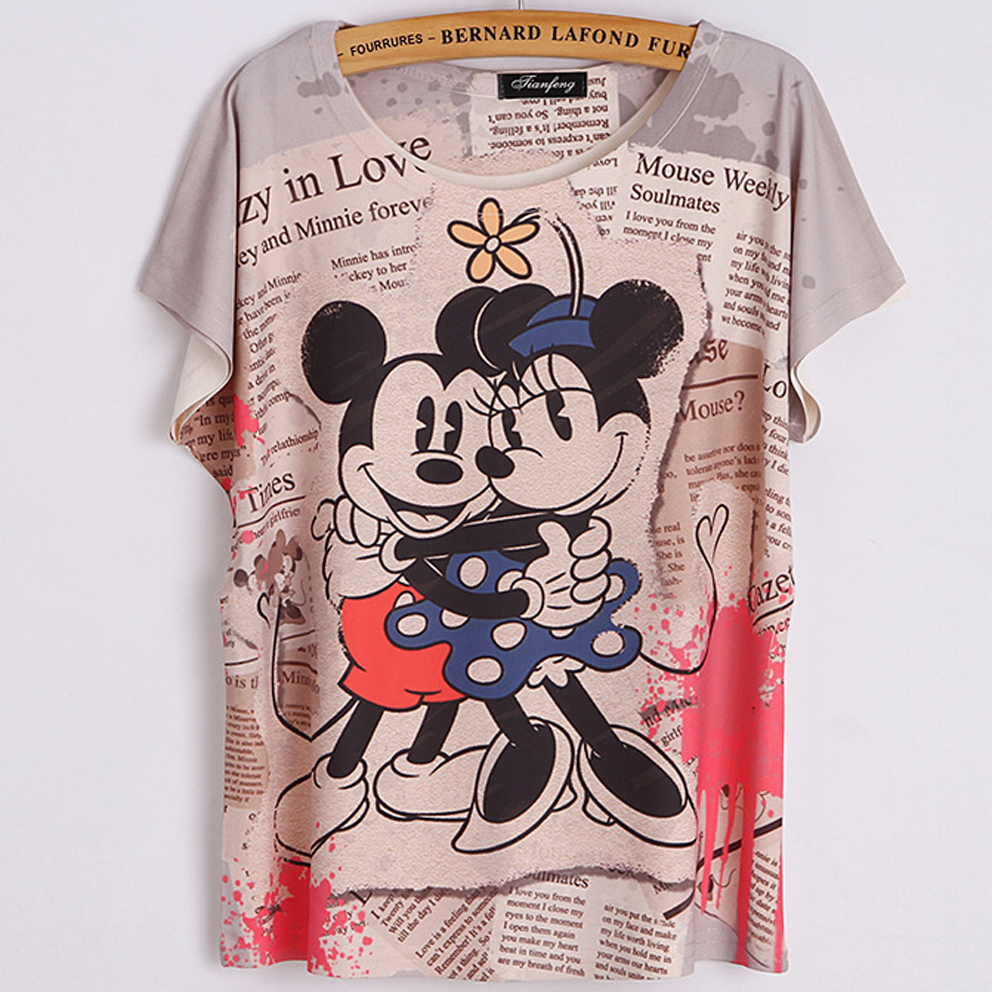 2016 Casual womens Brand T-shirt Two Cute Mouse and newspaper printed retro loose hip-hop T-shirt bat sleeve Tee Tops for Girls