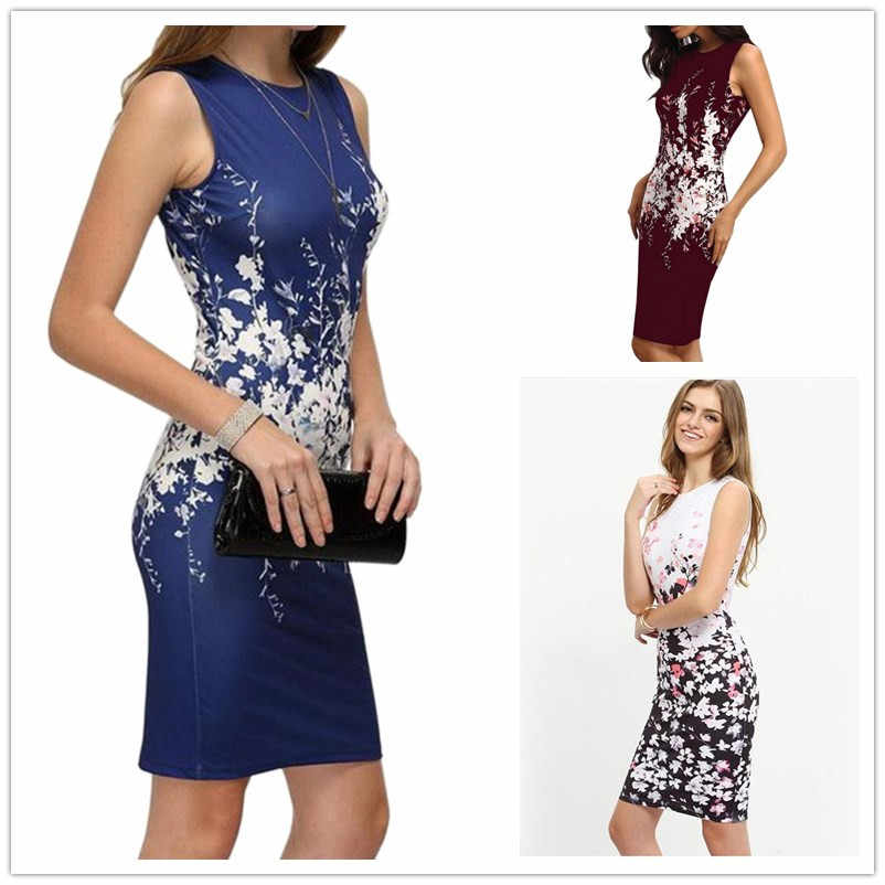 Women Office Lady Dress Summer Fashion Casual Sleeveless Flower Print Dress Sexy Slim Bodycon Mini Party Dresses Female Vestidos
