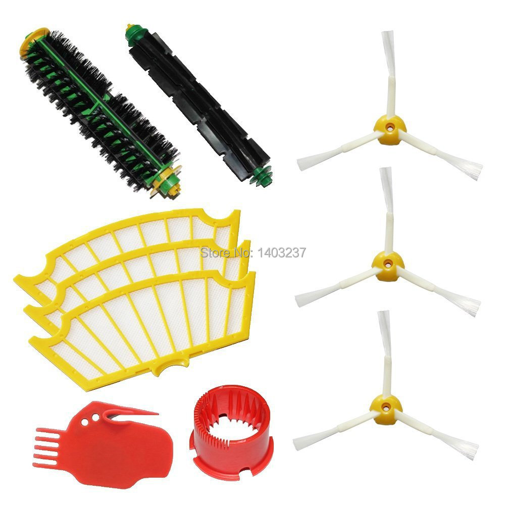 Bristle Brush Flexible Beater Brush Side Brush 3-Armed Filters 2 Cleaning Tools Pack Kit for iRobot Roomba 500 Series bristle brush flexible beater brush fit for irobot roomba 500 600 700 series 550 650 660 760 770 780 790 vacuum cleaner parts