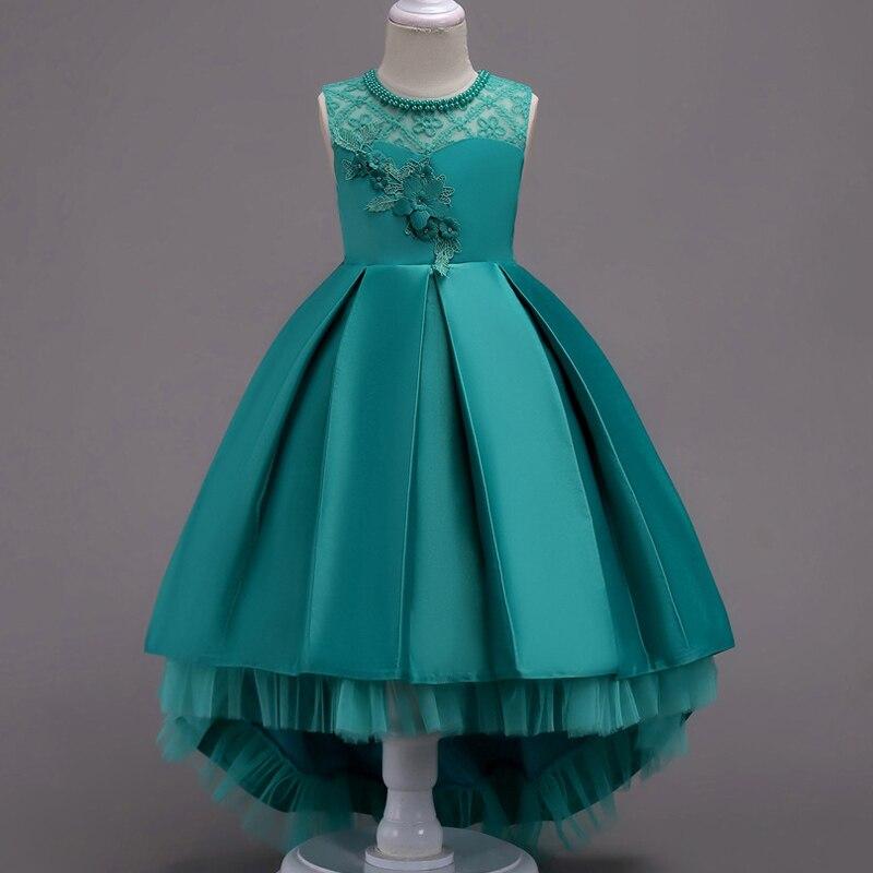 Платье с цветочным узором для девочек; Пышные свадебные вечерние платья с красным прицепом для девочек; кружевное вечернее платье принцессы для первого причастия - Цвет: green