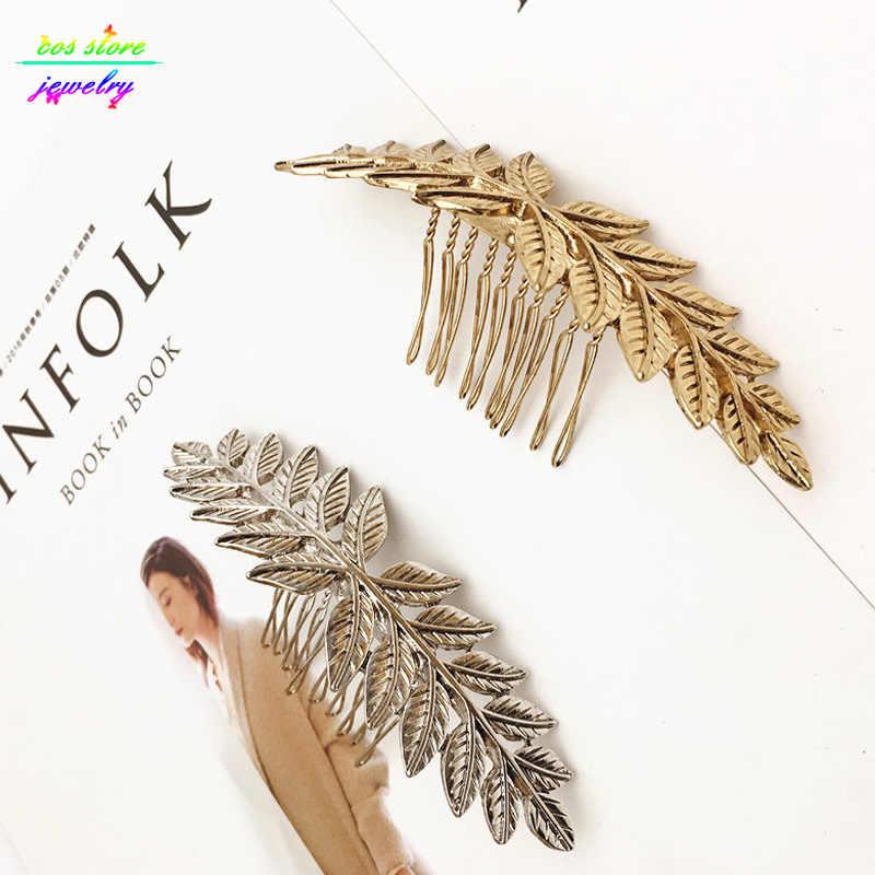 Уникальные винтажные Золотые/посеребренные листья булочка Топ расческа для волос винтажные свадебные аксессуары для волос Bijoux