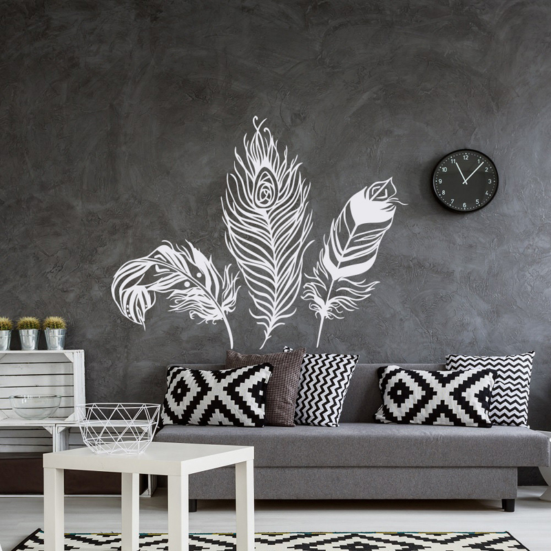 Feather Wall Decal Vinyl Wall Sticker Feathers Art Decals Tribal Boho Bohemian Bedroom Living Room Home Decor Wall Stickers