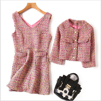 OLN 2PCS Women Sets Winter Full Sleeve Jacket V Neck Dress Woolen Suits Party Fashion High