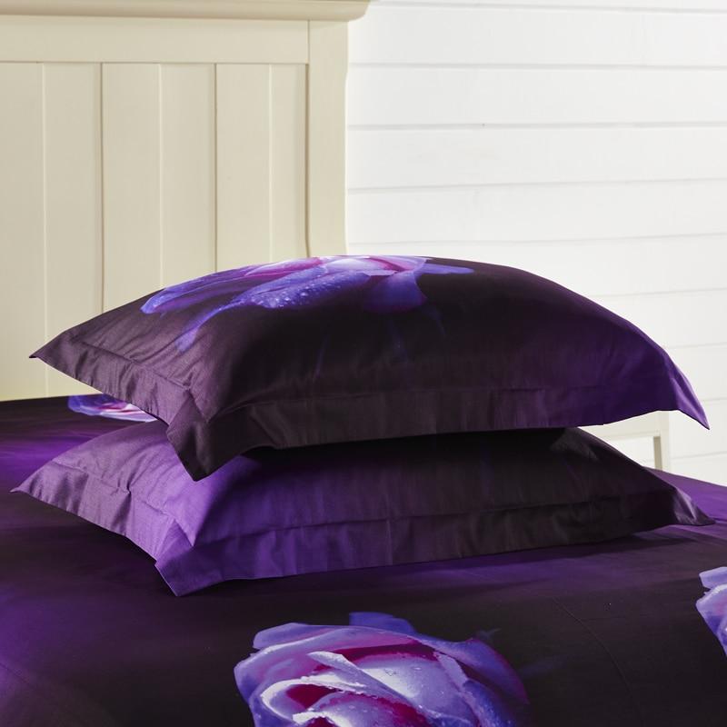 PAPA&MIMA bedding set 4pcs queen size 100% cotton purple rose flowers 3D printed bed sheet duvet cover set pillow sham - 5