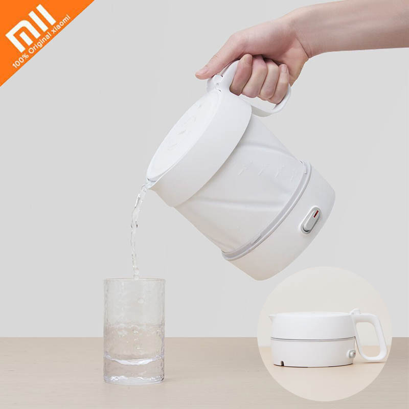 Xiaomi Mijia Foldable electric kettle with stainless steel Chassis Mini portable Safety Silica gel hot water bottle for tourism