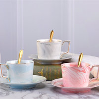 Nordic Style Coffee Cups and Saucers Spoon Handmade Ins Marble Milk Cup Set Home Afternoon Tea Milk Cup Set Drop Shipping