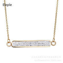 Eleple Simple Full White Crystal Bar Titanium Steel Necklaces Female Luxury Decoration Pendant Necklace Party Accessories S-N303