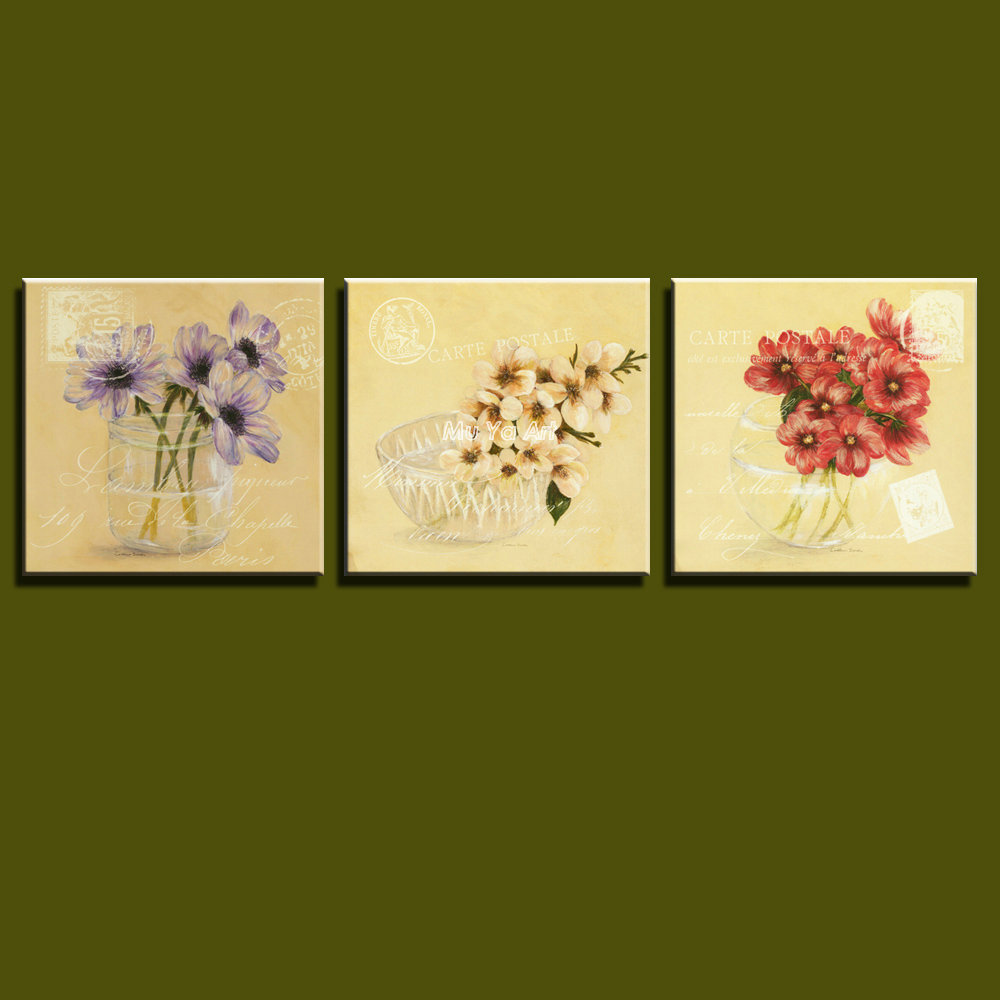 Triptych canvas prints classic modern flower painting set gallery ...
