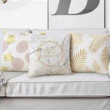 Modern Minimalist Marble Cushion Geometric Triangle Dots Gold Leaf Pineapple Decor Soft Plush Fabric Backrest Pillow For Home