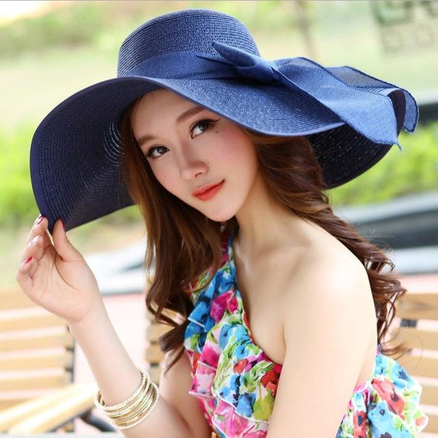 ( 9 colores ) moda mujeres del sombrero del sol de verano gorras protector solar bowknots cinturón plegable de paja sombreros para mujeres Beach Headwear calidad superior