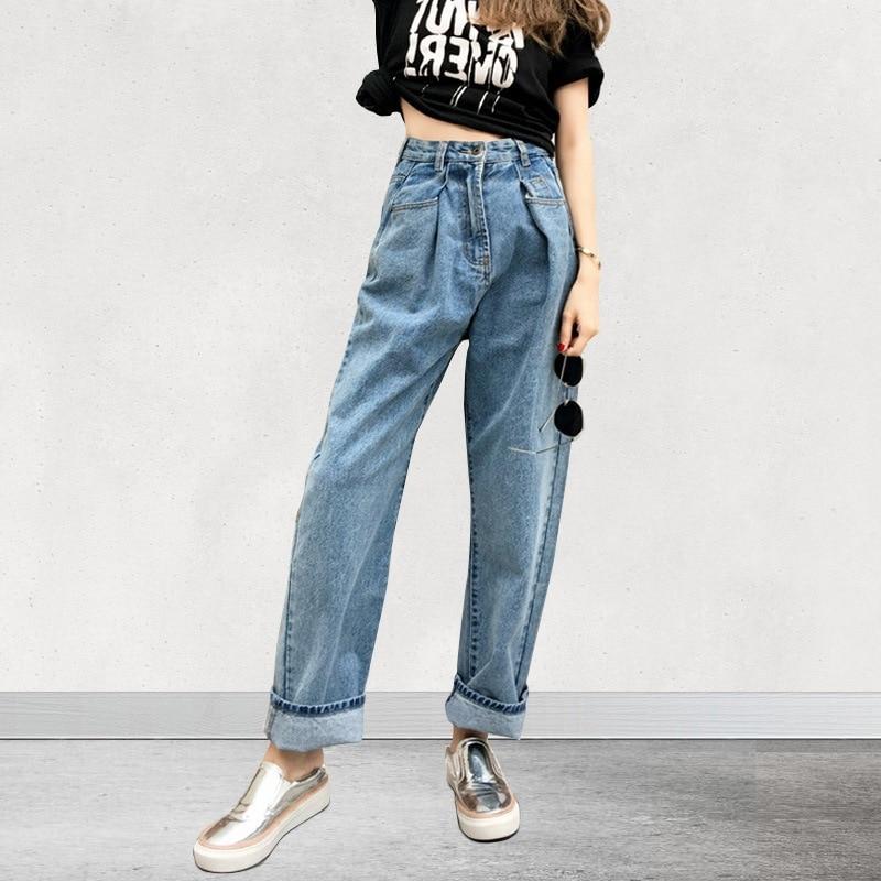 Fashion High Waisted Denim Wide Leg Jeans Womens Vintage -5763