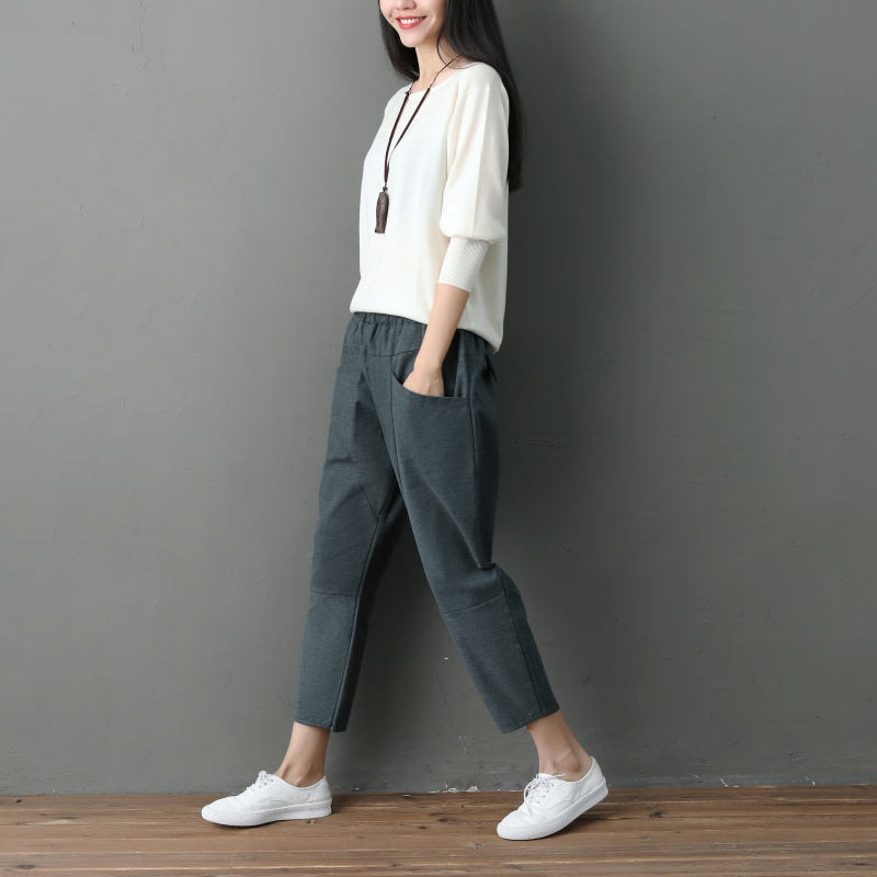 2018 Autumn Fashion Cotton Linen Crops   Pants   Women\'s Casual   Pants     Capris   Elastic Waist Harem   Pants   Trousers Plus Size 2XL