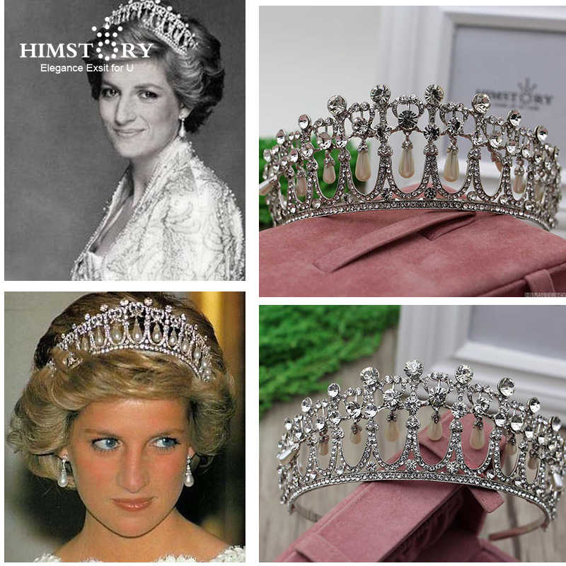 Himstory Classic Princess Diana Tiaras Crown Rhinestones Waterdrop