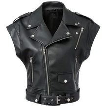 Women Leather Vest PU Soft Vest Ladies tatical Leather Motorcycle Vest Pocket vest waistcoat Rivet colete female WaistCoat F2831